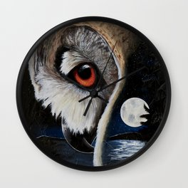 Eagle Owl - The Watcher - by LiliFlore Wall Clock
