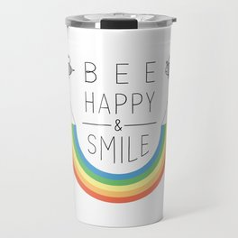Bee Happy and Smile Travel Mug