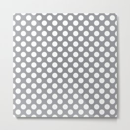 White Polka Dots with Grey Background Metal Print