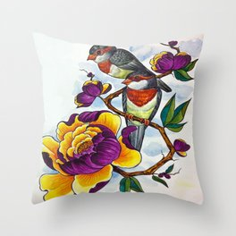 Peony Birds Throw Pillow