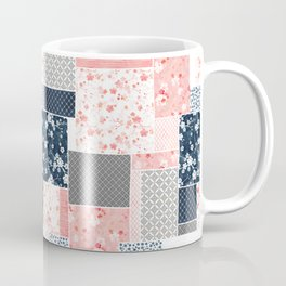 Cherry blossom patchwork in peach and navy blue Coffee Mug