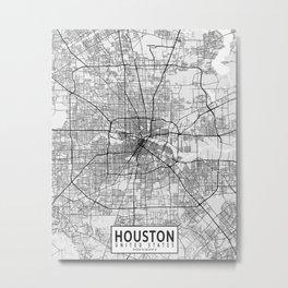 Houston City Map of Texas, USA - Light Metal Print