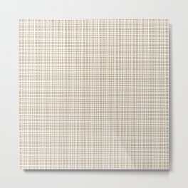 Fine Weave Retro Mid-Century Modern Pattern in White and Flax Metal Print