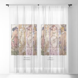 "Alfons Mucha, "" four flowers "" Sheer Curtain"