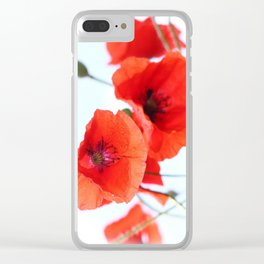 Paper-Like Poppies Clear iPhone Case