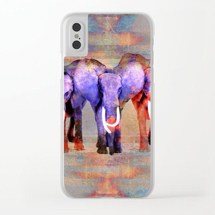 Watercolor effect  Elephant Digital Art Clear iPhone Case