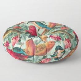 Birds in a summer garden Floor Pillow