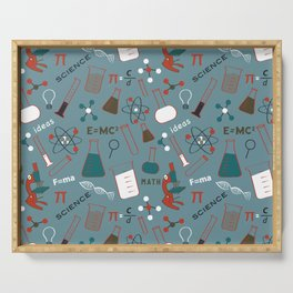 Blue Science and Math Icons Serving Tray