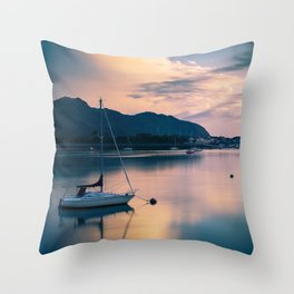 A boat on the river Throw Pillow