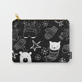 Merry Christmas-Simple X-mas Fun Doodle-Mix and Match with Simplicity of Life Carry-All Pouch