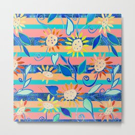 zakiaz cobalt flower stripe Metal Print