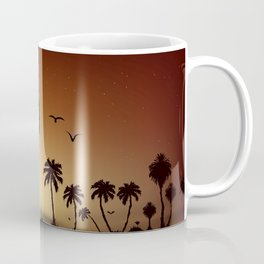 Sunsets and sunrises over the savanna with palm trees Coffee Mug