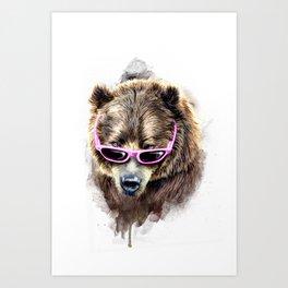 Cool shy bear Art Print