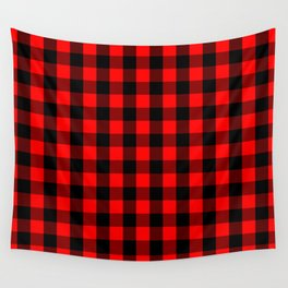 Classic Red and Black Buffalo Check Plaid Tartan Wall Tapestry