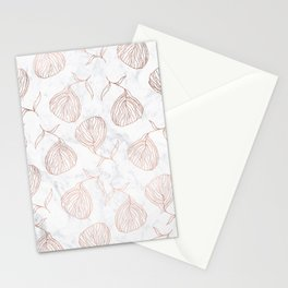 Modern girly rose gold hand drawn floral white marble pattern Stationery Cards