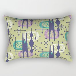 Retro Atomic Mid Century Pattern Blue Green Purple and Turquoise Rectangular Pillow