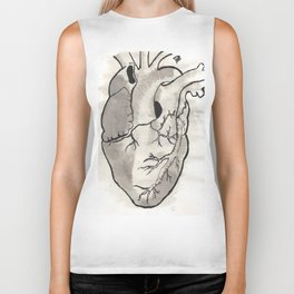 Heart in black and white Biker Tank