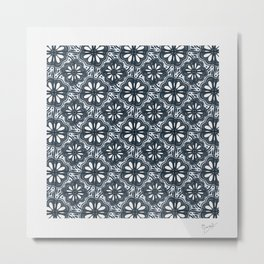Continuous Flowers Pattern Tessellation in Blue Metal Print