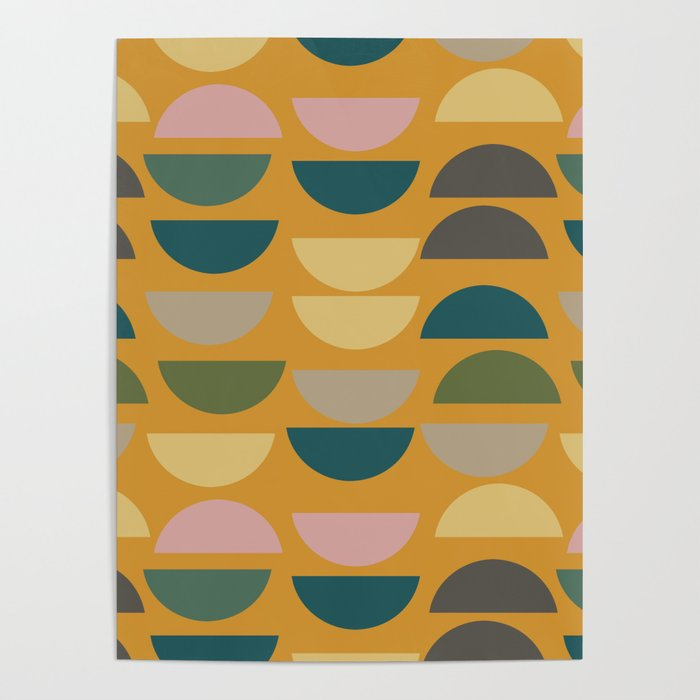 Geometric Graphic Design Shapes Pattern In Mustard Yellow Poster By Junejournal Society6,Abstract Geometric Line Design