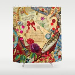 Vintage Love Letters Shower Curtain