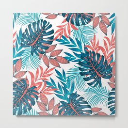 Original seamless tropical pattern with bright plants and leaves on a light background. Beautiful seamless vector floral pattern. Vector design. Jungle print. Floral background. Metal Print