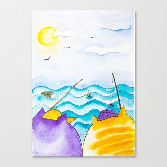 Cats fishing Canvas Print