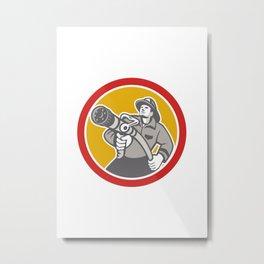 Fireman Firefighter Emergency Worker Metal Print