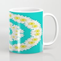 coasters Mugs featuring White Daisies on Turquoise Background by Lena Photo Art