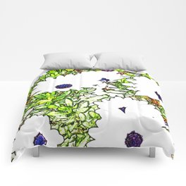 Drawing of White Daises Comforters