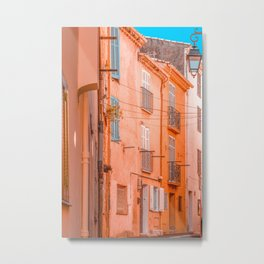 Cannes City Architecture, Travel Print, Historic Houses Downtown, Charming City Streets Of Cannes, French Riviera, Orange Houses Metal Print
