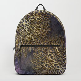 Gold Mandalas on Violet Background Backpack