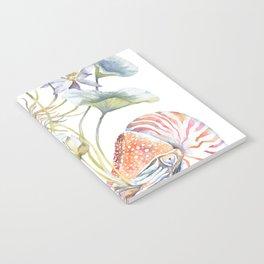 Nautilus and Lotus Surreal Watercolor Sea Animal Botanical Design Notebook