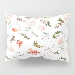 Coral pink green watercolor hand painted floral Pillow Sham