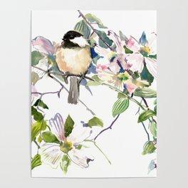 Chickadee and Dogwood Flowers Poster