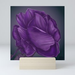 The purple rose solid background digital art painting Mini Art Print