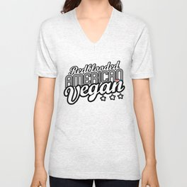 """Red-blooded American Vegan"" Unisex V-Neck"