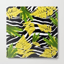 ZEBRA PALMS AND FERNS YELLOW AND GREEN Metal Print