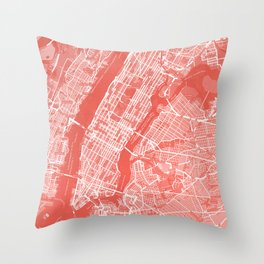 Living Coral Blush Pink Mantel Decor showing Manhattan New York City. Minimalist Layered Artwork Throw Pillow