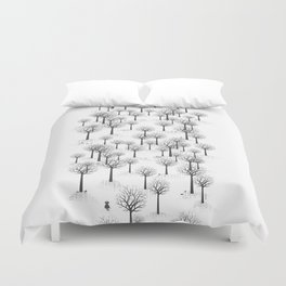 Winter Forest - Bunnies and Hound / by Friztin Duvet Cover