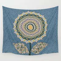 mineral Wall Tapestries featuring Fabby Flower-Mineral colors by Groovity