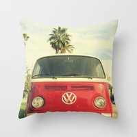 vw Throw Pillows featuring VW Coastin' by RichCaspian