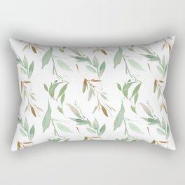 Pastel green brown watercolor hand painted leaves Rectangular Pillow