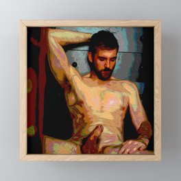 Male Oil Nude Framed Mini Art Print