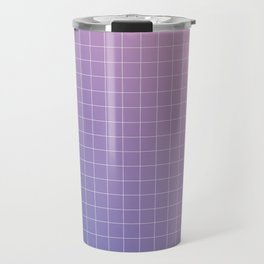 purple / pink - grid Travel Mug