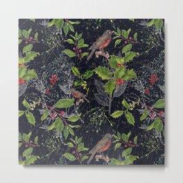 Christmas Botanical with Dark Background Metal Print