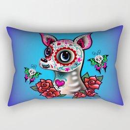 Sugar Skull Chihuahua with Roses Rectangular Pillow