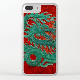Wooden Jade Dragon Carving on Red Background Clear iPhone Case
