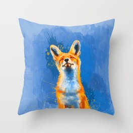 Happy Fox on blue background, inspirational animal art Throw Pillow