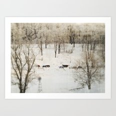 Horses in the Winter Art Print