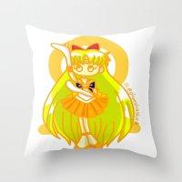 sailor venus Throw Pillows featuring Sailor Venus by Glopesfirestar